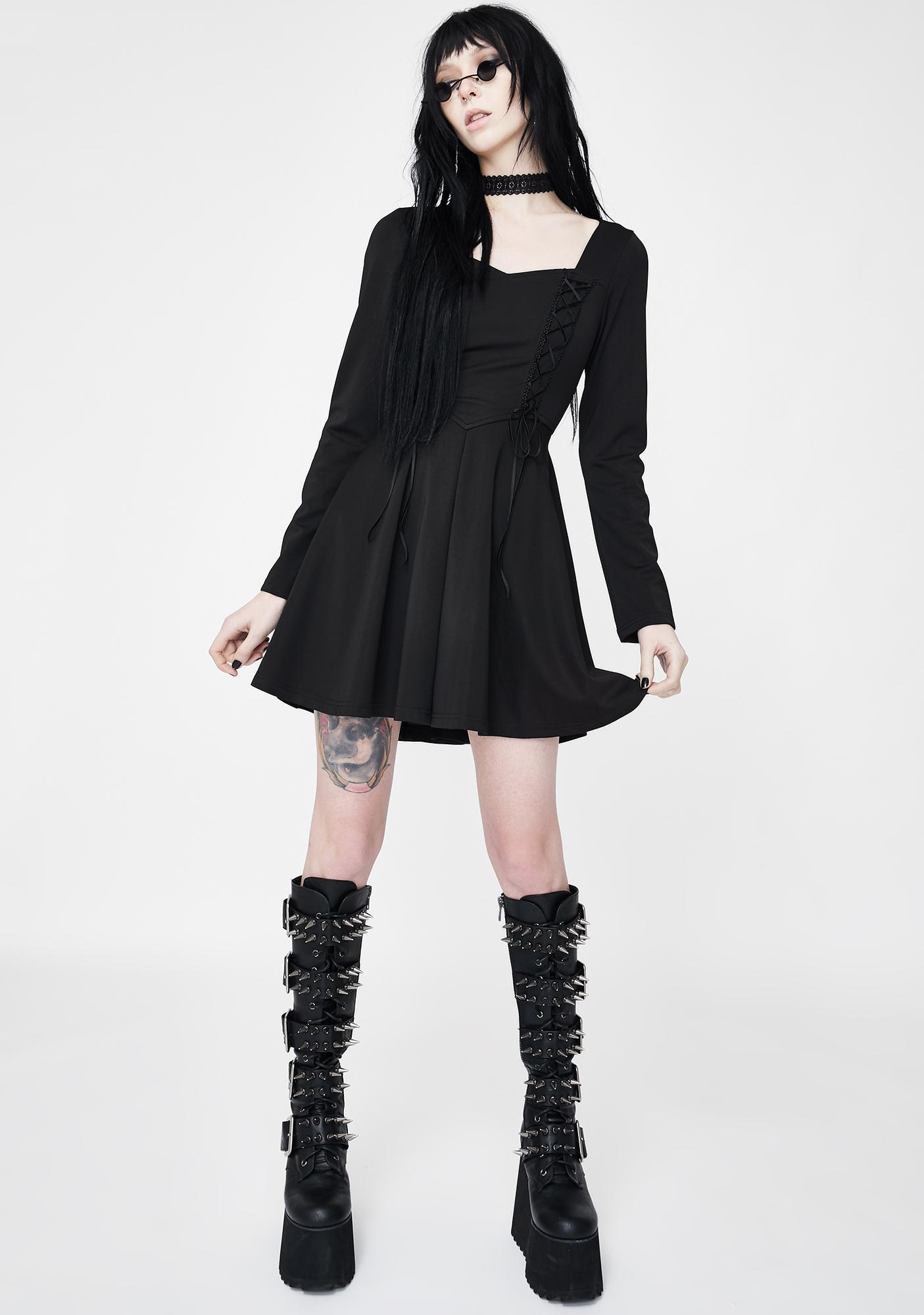 Punk Rave Lace Up Sweetheart Mini Dress