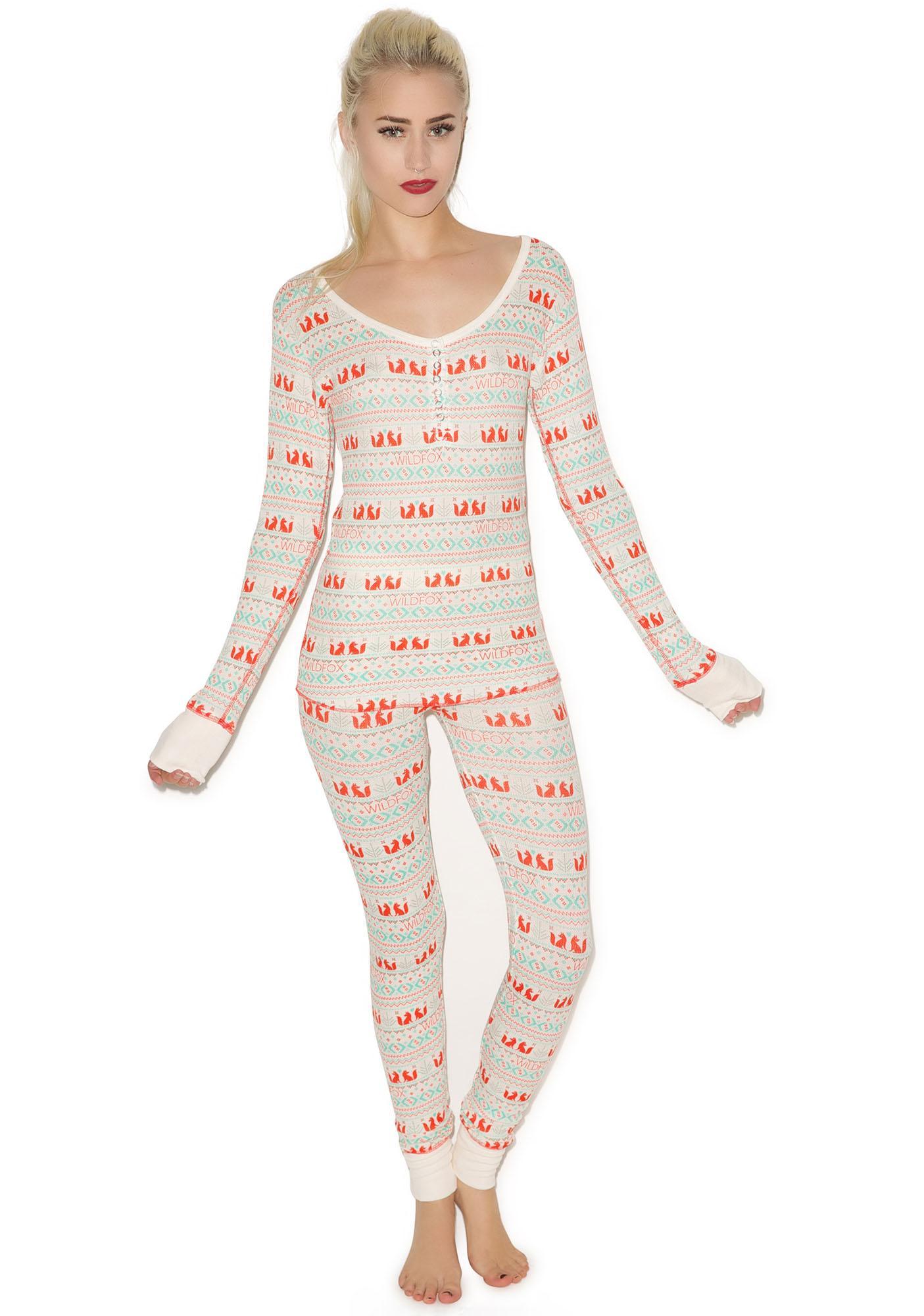 Wildfox Couture Fox Print Ski Bunny Pajama Set