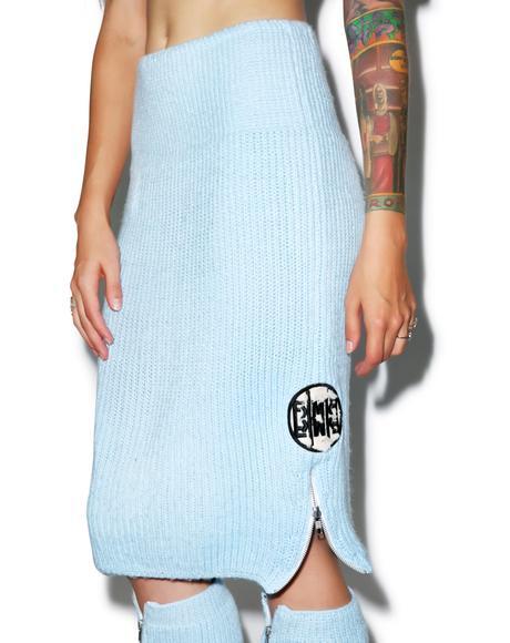 Blu Fluffy Knit Pencil Skirt