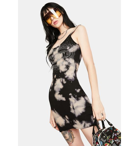 Jaded London Bleached Rib Racer Dress With Call Me Diamante Detail