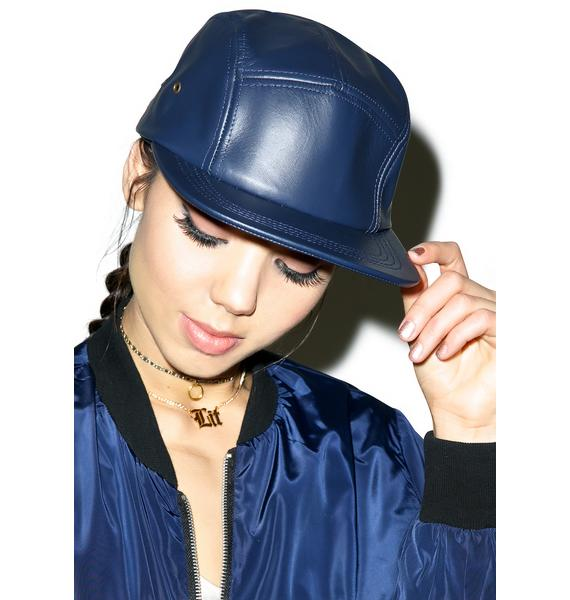The Navy Leather Hat