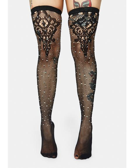 In The Shadows Lace Rhinestone Knee Socks