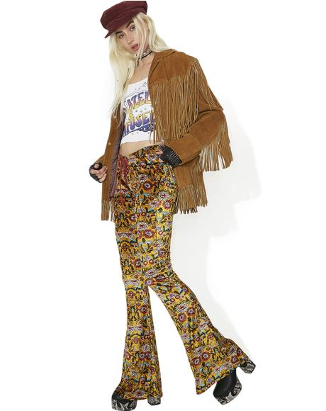 Proud Mary Velvet Lace-Up Bell Bottoms