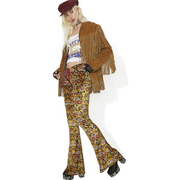Current Mood Proud Mary Velvet Lace-Up Bell Bottoms