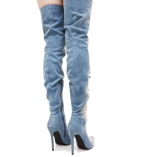Privileged Matheson Denim Thigh-High Boots
