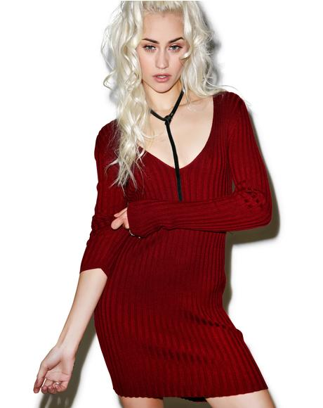 Everyday is V-Day Knit V-Neck Dress