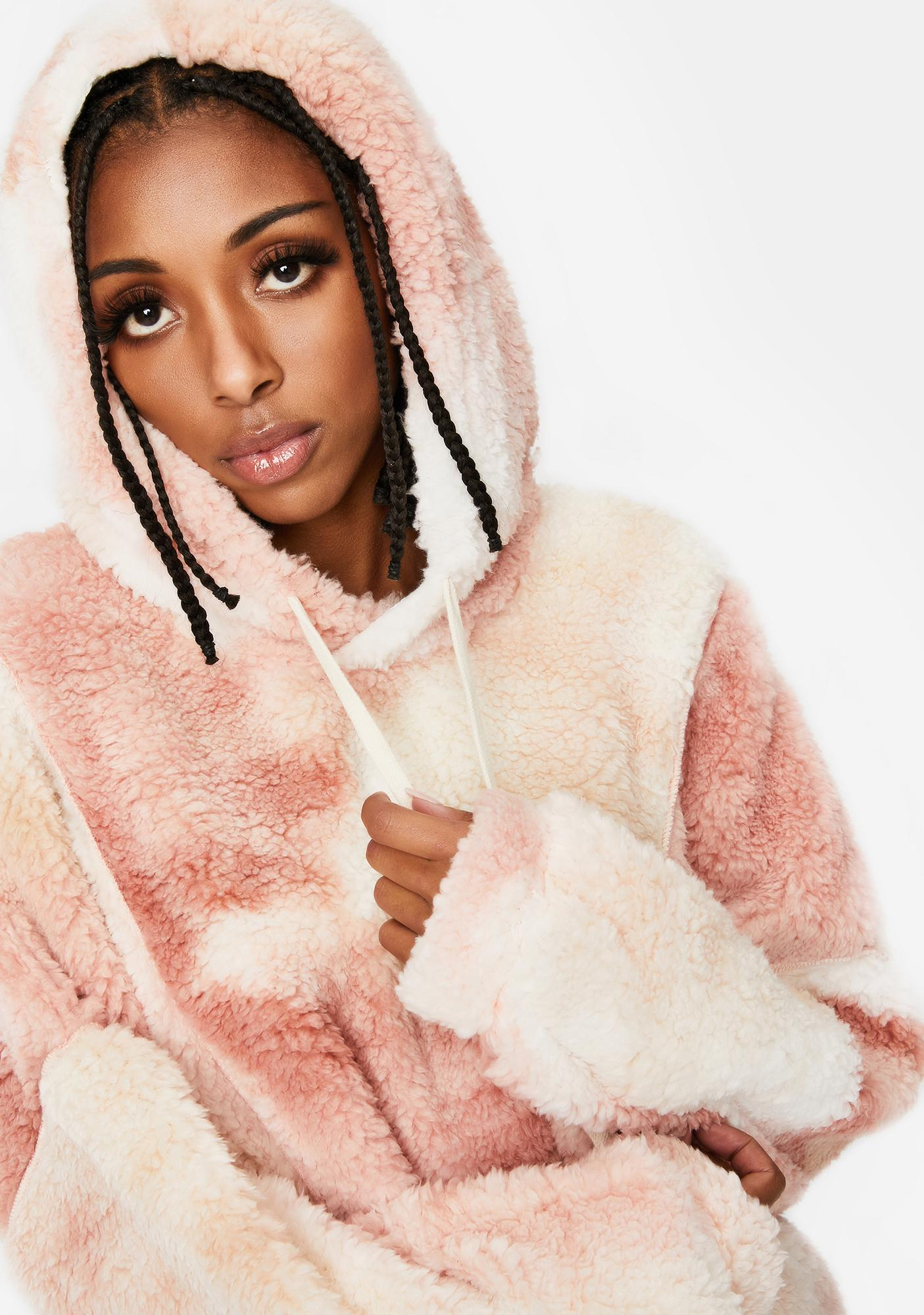 Mauve In The Middle Sherpa Tie Dye Hoodie