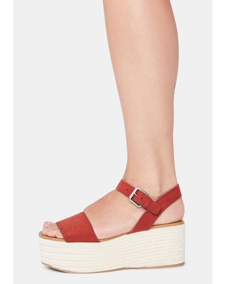 Suede Sienna Out With A Bang Platforms Sandals