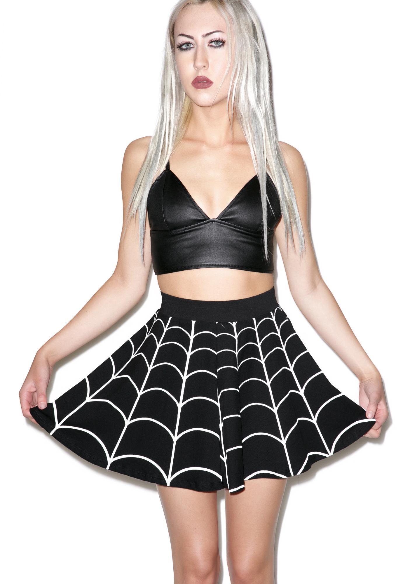 Kreepsville 666 White Web Flare Skirt