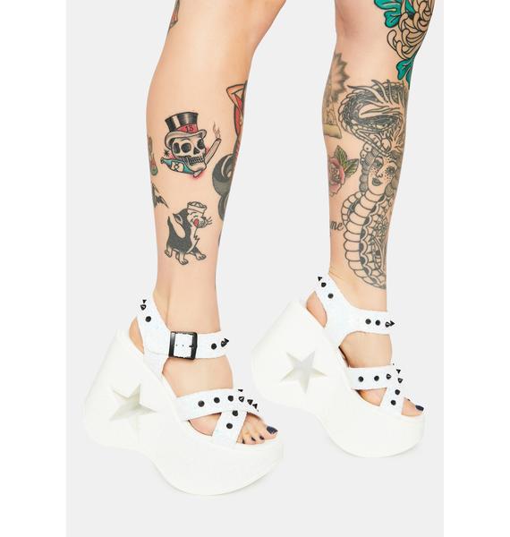 Demonia White Star Siren Platform Sandals