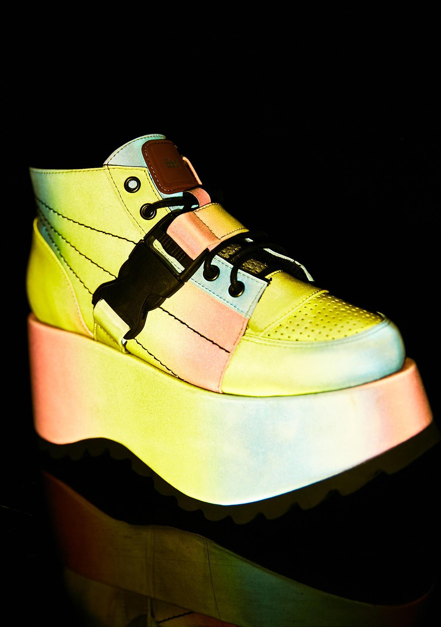 ESQAPE Globe Reflective Platform Sneakers