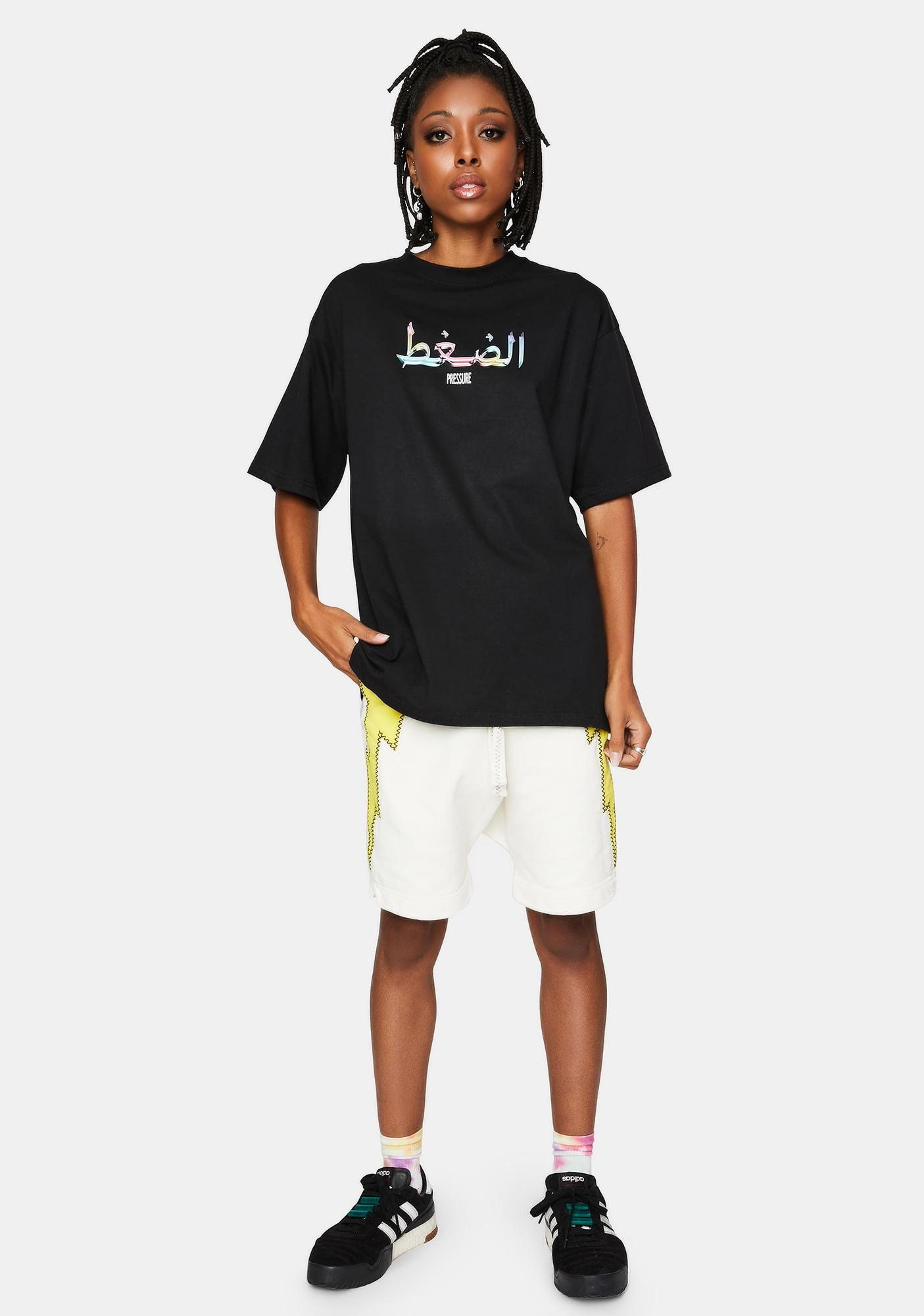 Pressure Clothes Black Arabic 3D Graphic Tee