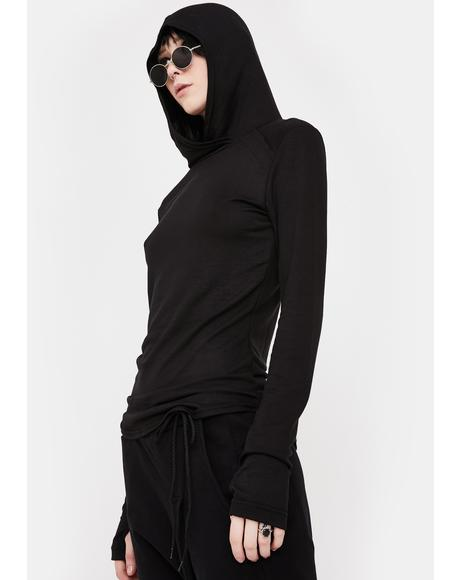 Black Base Hooded Long Sleeve Tee
