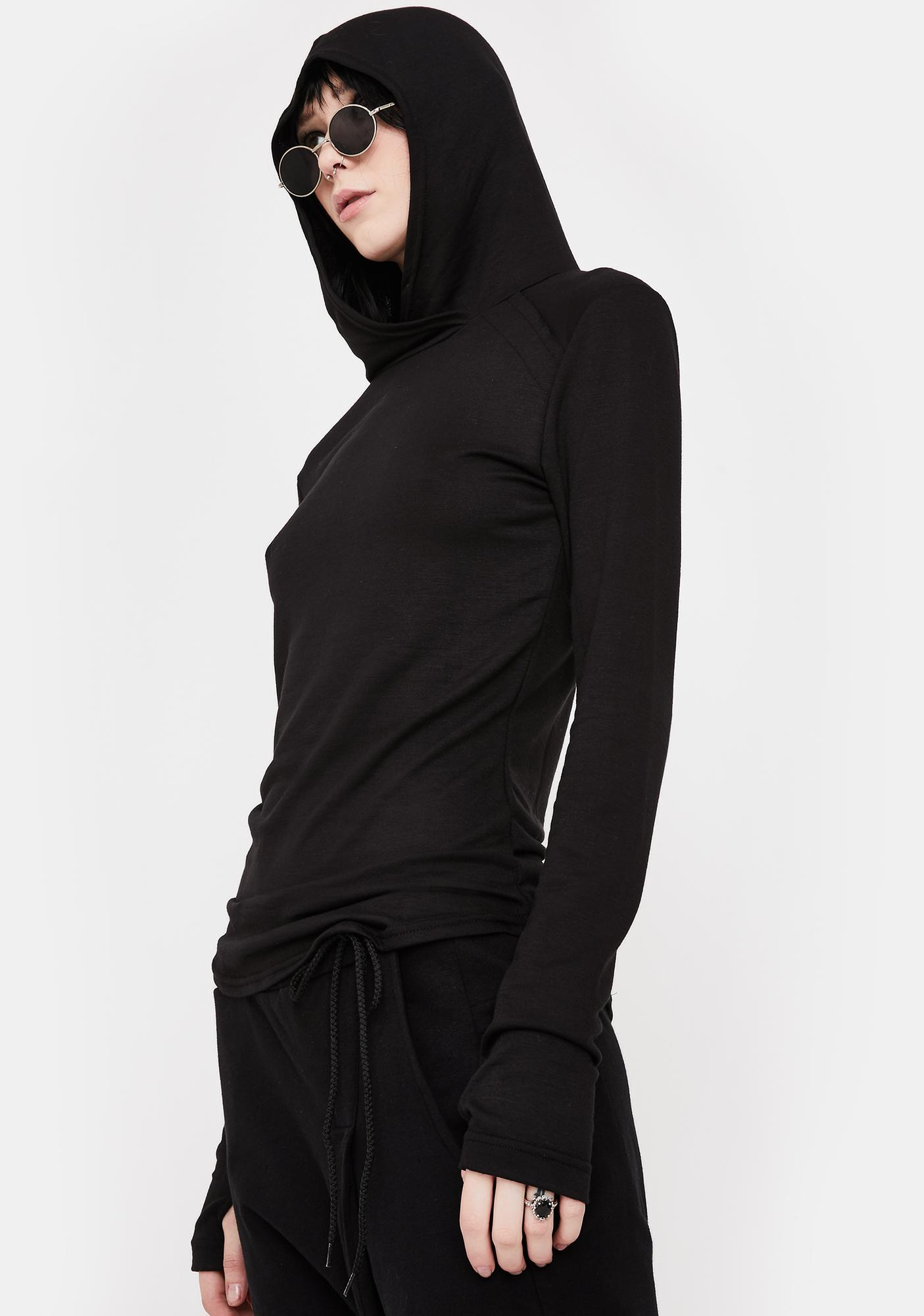 NOCTEX Black Base Hooded Long Sleeve Tee