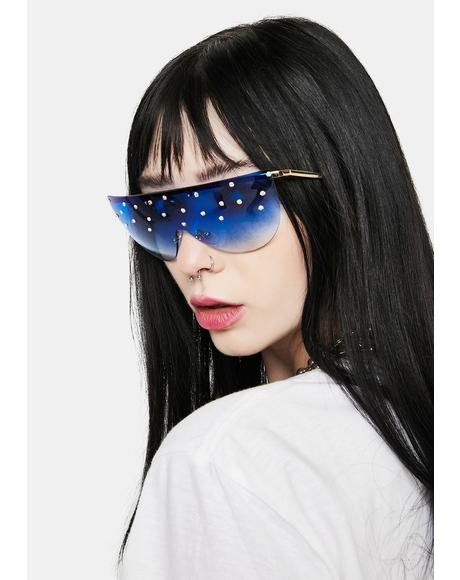 Sapphire Glam Speed Ahead Pearl Aviator Sunglasses
