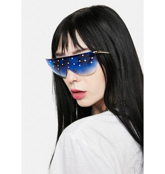 Sapphire Glam Speed Ahead Pearl Aviator Sunglasses