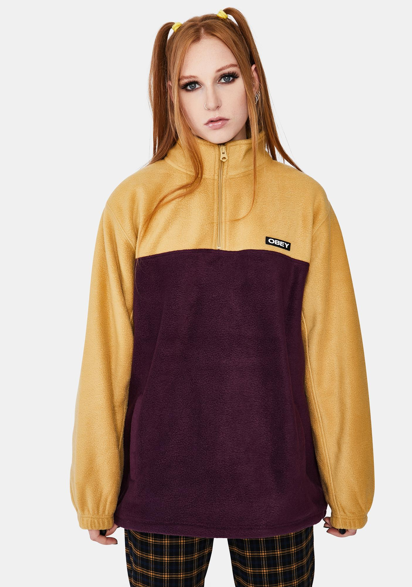 Obey Eulogy Mock Neck Zip Top