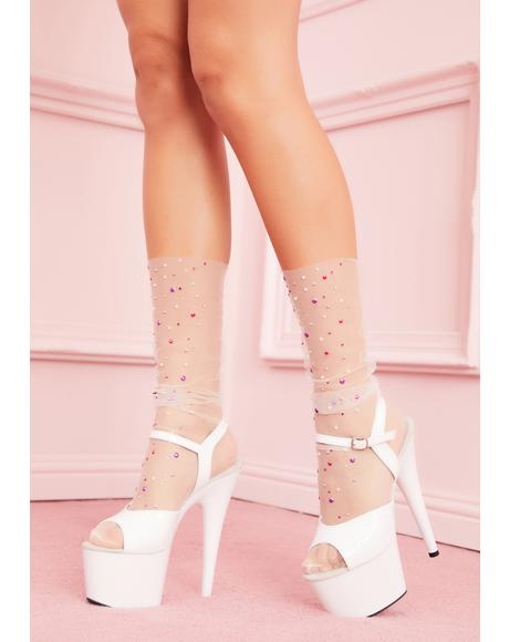 Rose Wood Embellished Tulle Socks