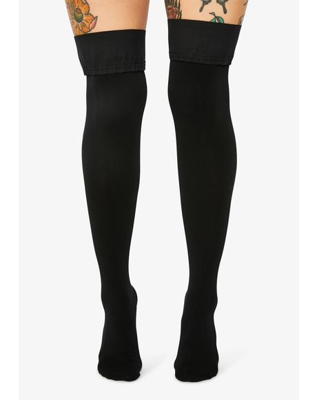 Pure Goodie Satin Bow Thigh High Socks