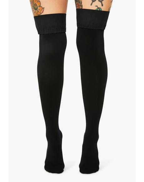 Pure Goodie Satin Bow Thigh High Socks