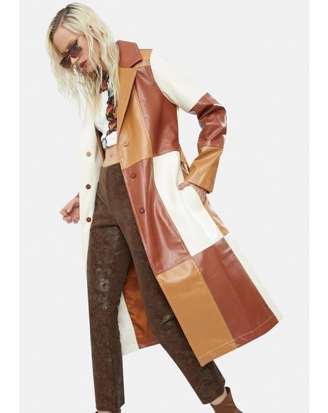 Patchwork Vegan Leather Belted Trench Coat