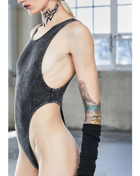 Bassline Worn Wash Ribbed Bodysuit