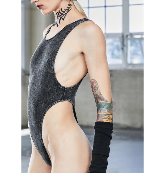 DARKER WAVS Bassline Worn Wash Ribbed Bodysuit