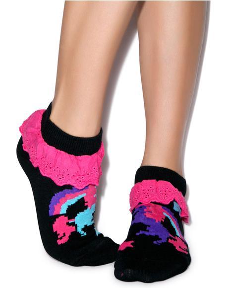 Pixel Unicorn Eyelet Ankle Sock