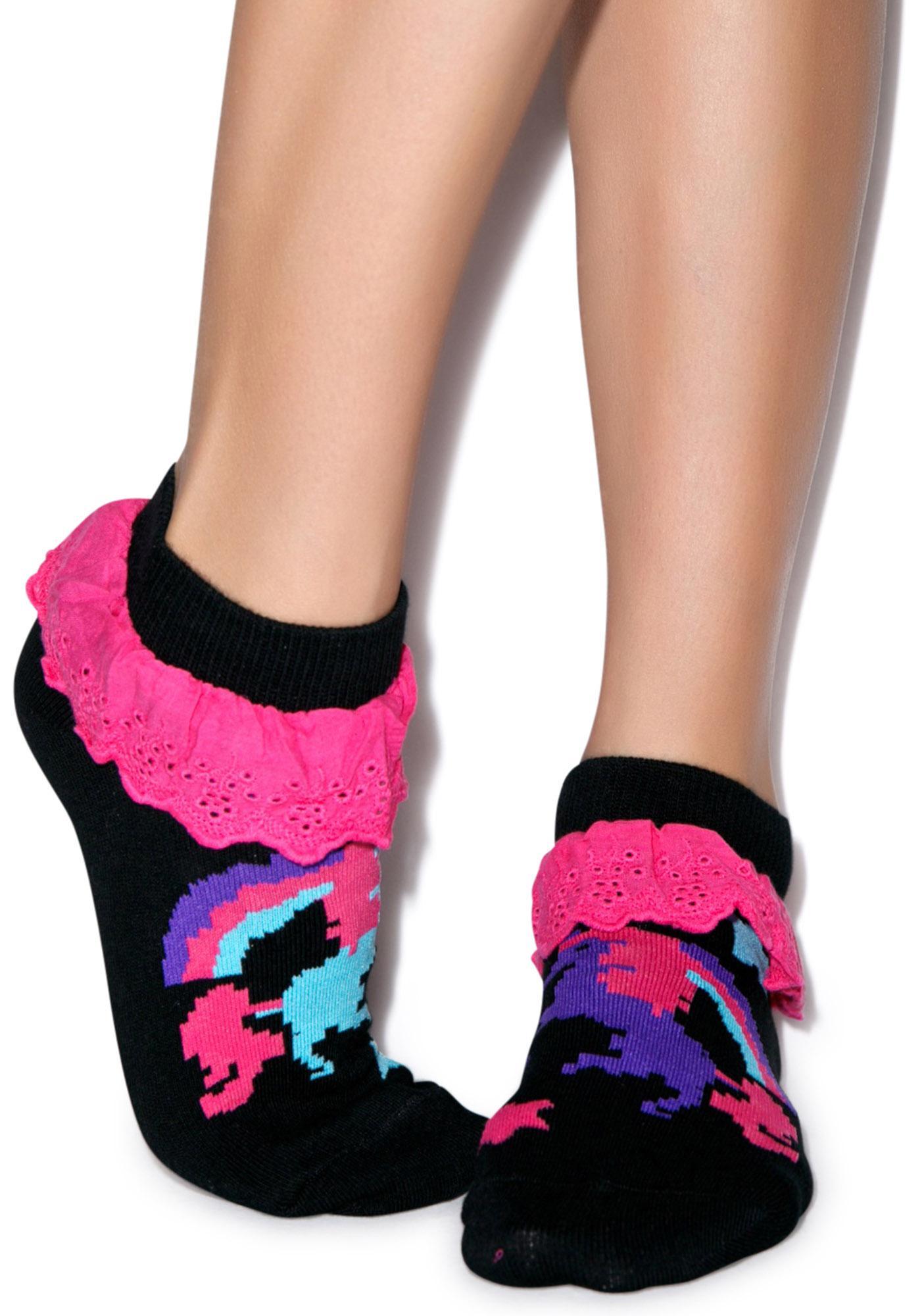 Too Fast Pixel Unicorn Eyelet Ankle Sock