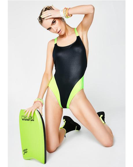 Vintage 80s Colorblock One Piece Swimsuit