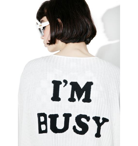 Wildfox Couture I'm Busy Micro Cashmere Blend Cardigan