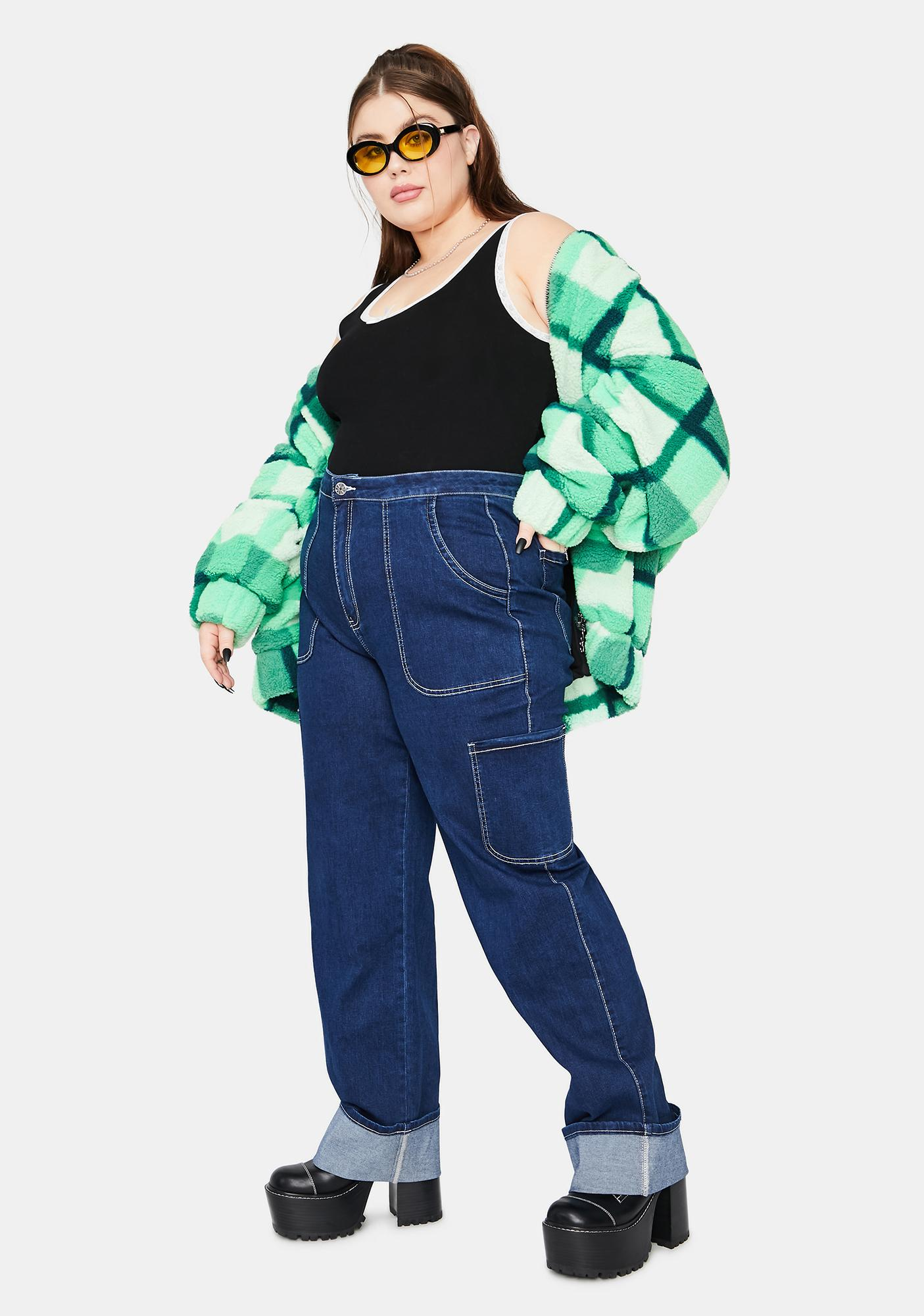 dELiA*s by Dolls Kill Let's Ride The Wave Cuffed Carpenter Jeans