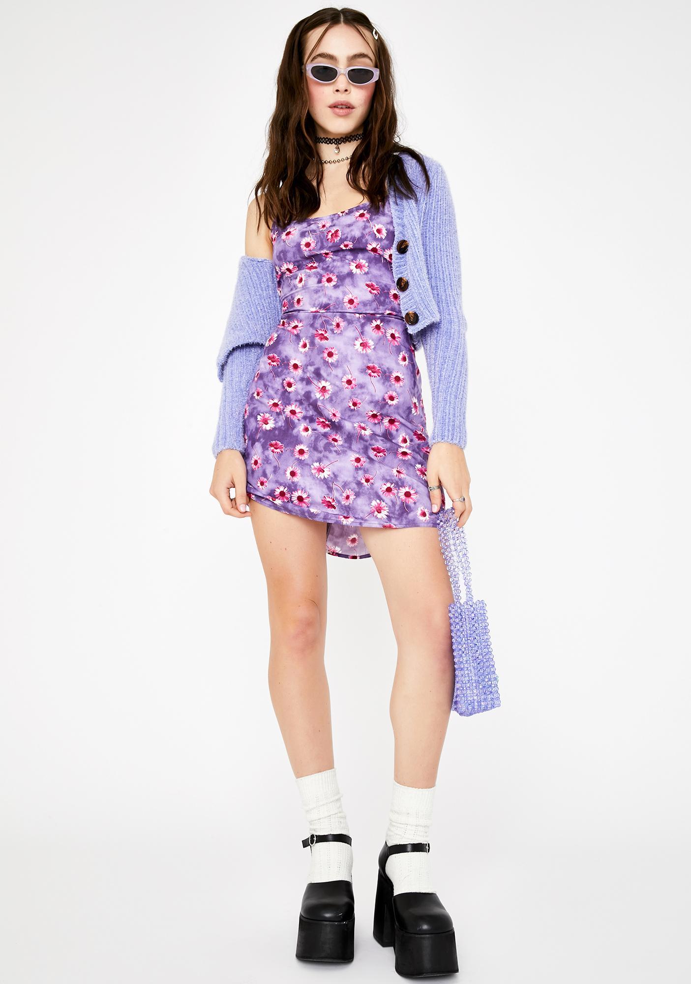 Motel Purple Daisy Kinley Mini Dress