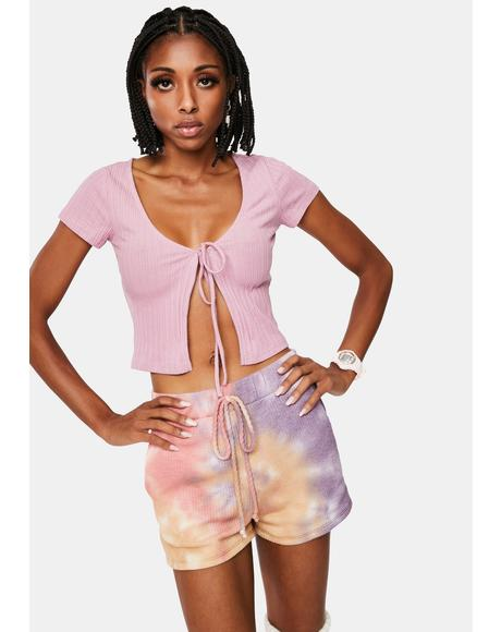 Lady C U L8R Tie Front Crop Top