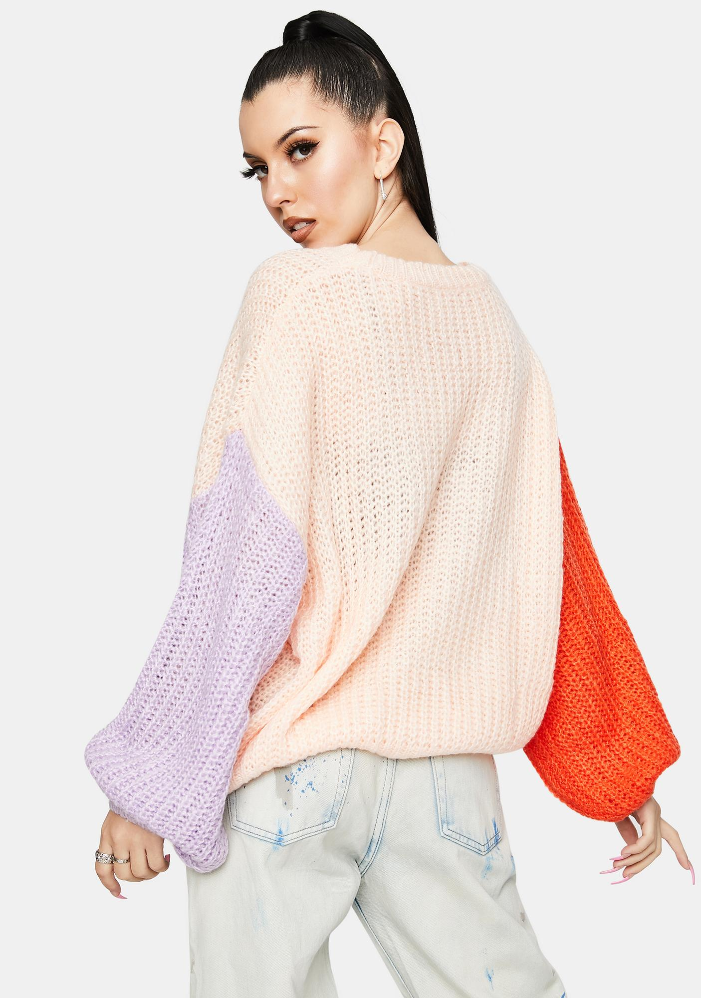 Bailey Rose Peach Coral Colorblock Sweater