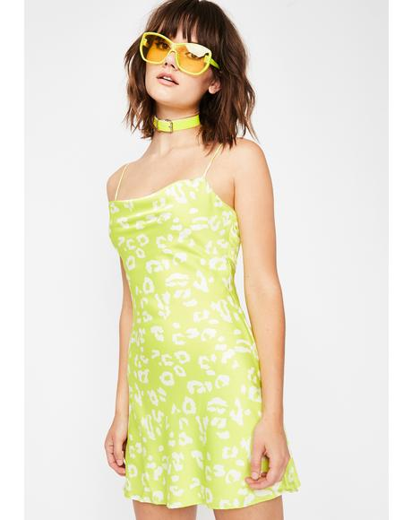Lime Kitty Fever Mini Dress