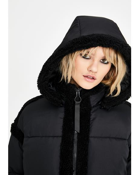 Fleece Trim Longline Puffer Coat