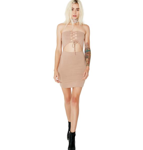 All For You Lace-Up Bodycon Dress