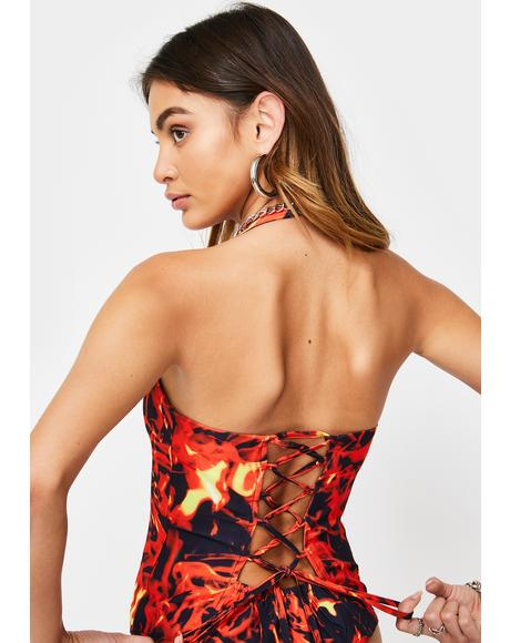 Flame Print Halter Neck Corset Top