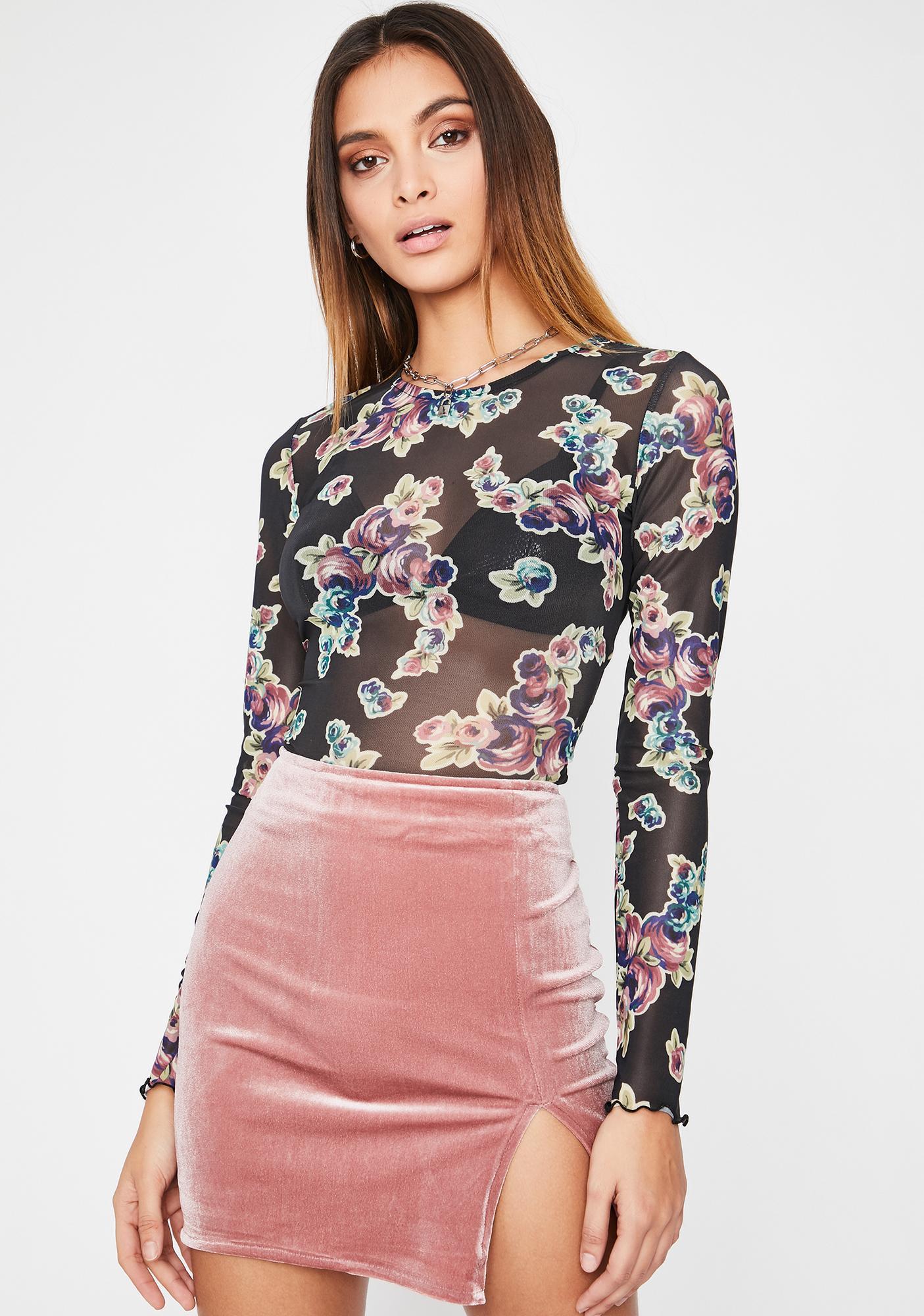 Rose Total Temptation Velvet Skirt