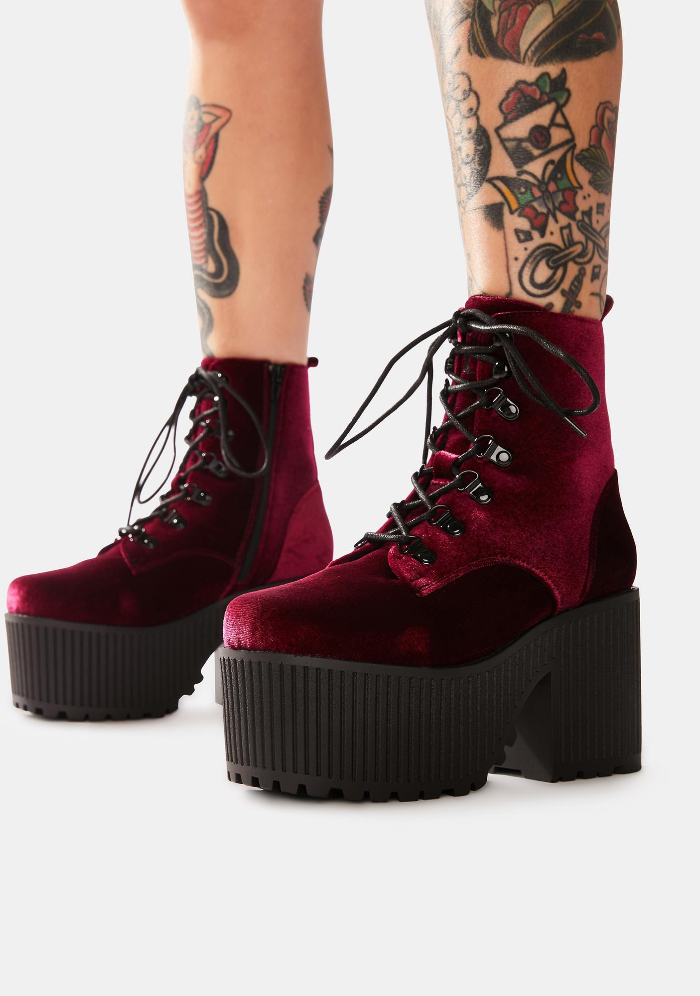 Y.R.U. Creep Burgundy Velvet Platform Boots