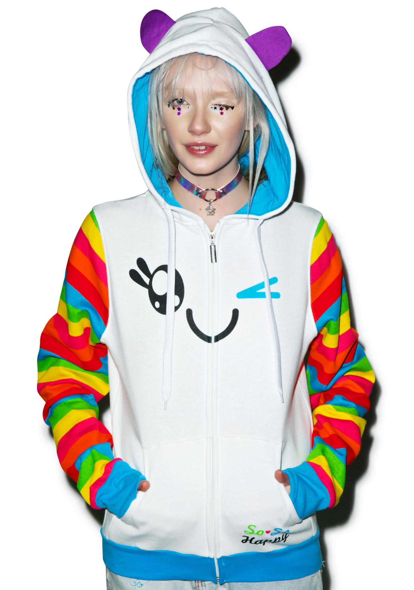Iron Fist x So So Happy Wink Rainbow Sleeve Hoodie