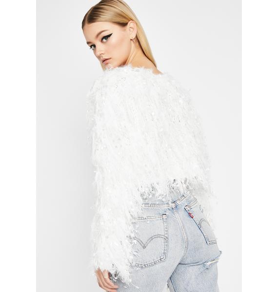 Ivory Let's Get Festive Fringe Sweater