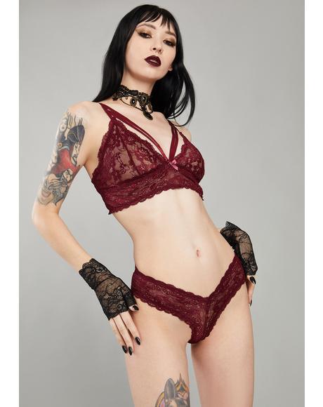Wine Kiss Of Midnight Lace Panties