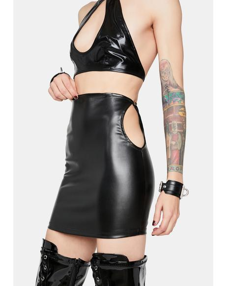 Baddie Mindset Cutout Vegan Leather Skirt
