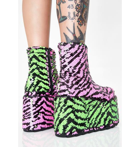 Y.R.U. Qomet Zebra Flip Sequin Platform Boots