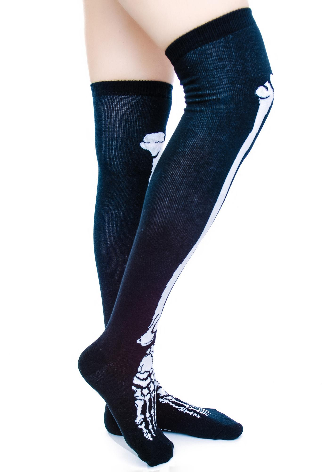 Sourpuss Clothing Skelly Bone Knee Socks