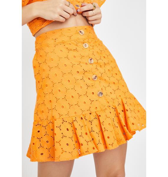 Glamorous Orange Lace Ruffle Skirt
