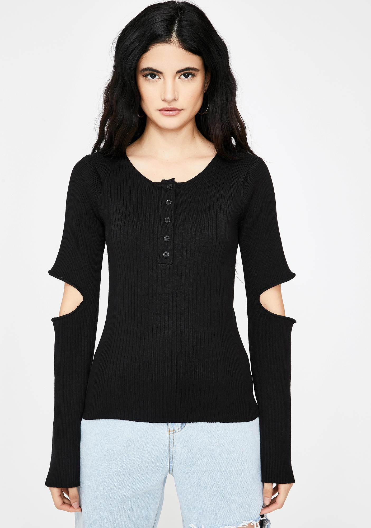 THE KRIPT Oscar Cut-Out Henley Top
