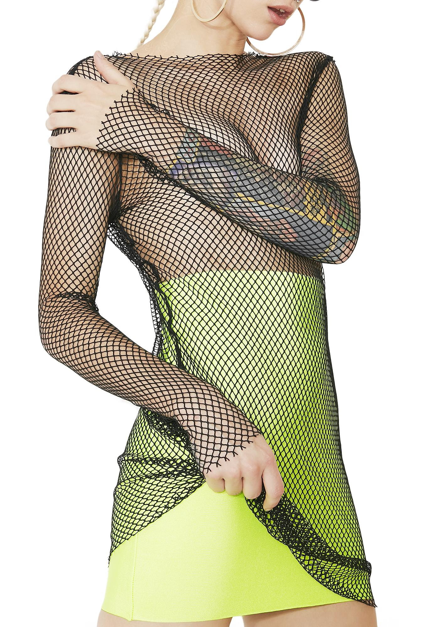 Sneak Peek Fishnet Mini Dress